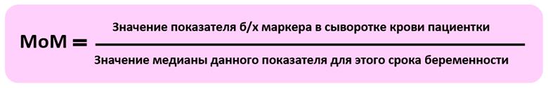 Формула вычисления МоМ для скрининга