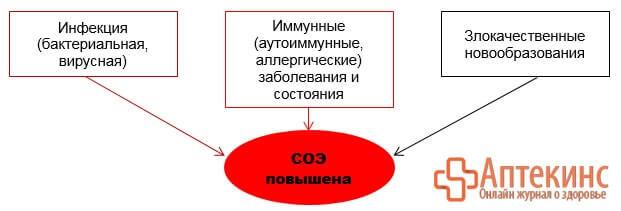 Причины повышения СОЭ - схема